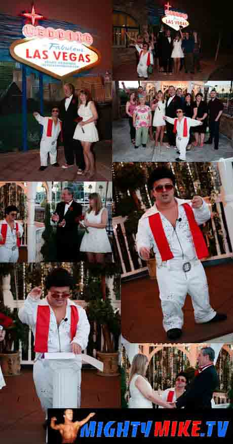 Find a little person Minister as a mini Elvis at 702 Las Vegas wedding Chapple and Banning, Dwarf Hosting Singing Viva Las Vegas, All shook up, Cant help Falling in love with you. Mini Singer, Small Super heroes Officiant Minister Mighty Mike Murga.